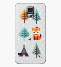 Fuchs im Wald - auf Grau Hülle & Klebefolie für Samsung Galaxy