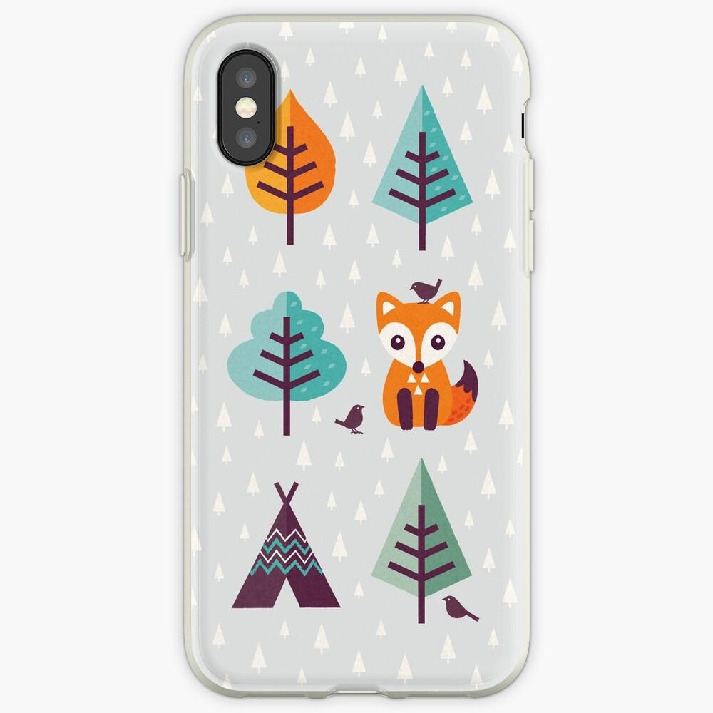 Fuchs im Wald - auf Grau iPhone-Hüllen & Cover