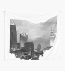 Cleveland Skyline in Ohio Shape Wall Tapestry