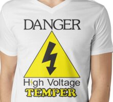 Danger High Voltage Temper Mens V-Neck T-Shirt