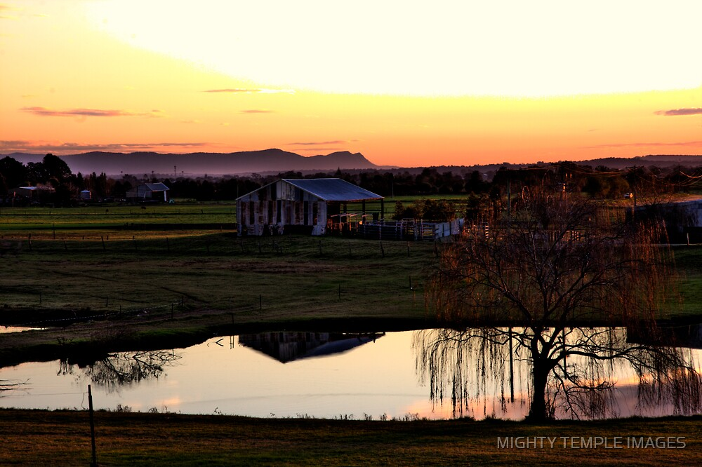 Farmyard Sunset by MIGHTY TEMPLE IMAGES