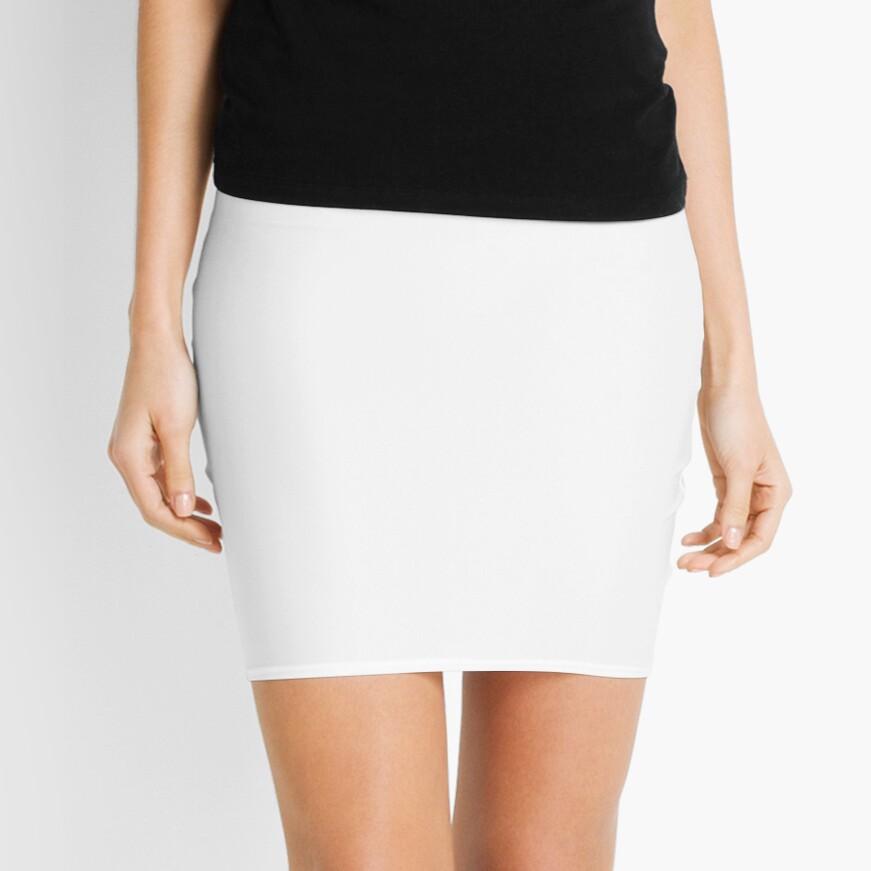Plain White Simple Solid Designer Color All Over Color Mini Skirt