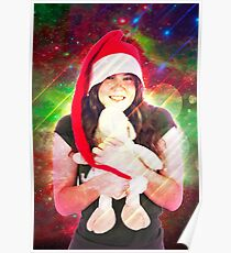 Digitally enhanced image of a Young teen wearing Santa's helper hat and hugging a stuffed Teddy bear with Christmas atmosphere  Poster