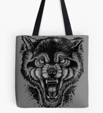 Neotraditional Inked Wolf Tote Bag