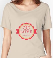 Love Badge 14 Feb Valentine's Day Women's Relaxed Fit T-Shirt