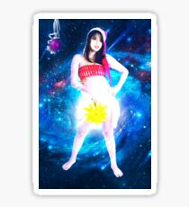 Digitally enhanced image of a young sexy Asian woman with Santa hat  Sticker