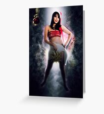 Digitally enhanced image of a young sexy Asian woman with Santa hat  Greeting Card
