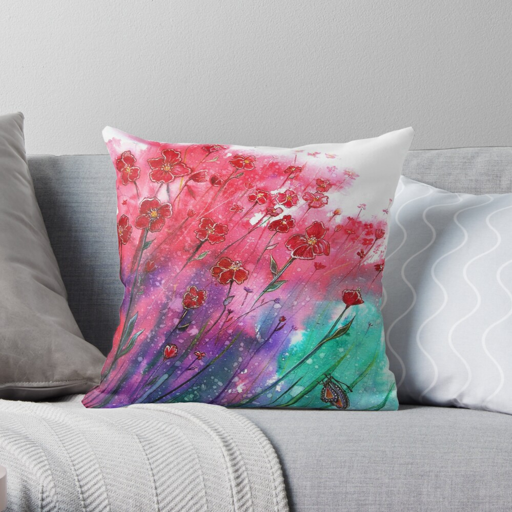 Flowers - Dancing Poppies Throw Pillow