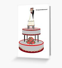 Congradulations Wedding Cake with Bride and Broom Greeting Card