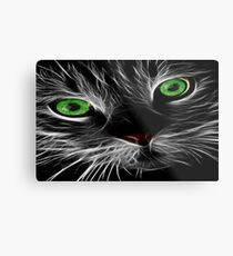 Bright green eyes cat with a electric charge Metal Print