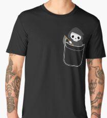 Halloween Grim Reaper In Pocket Funny Skeleton Skull Men's Premium T-Shirt