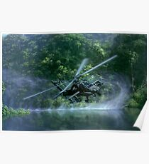 Military apache helicopter gunship flying close to the river Poster