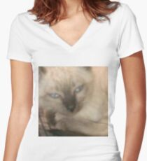 Nodding Kitty Women's Fitted V-Neck T-Shirt