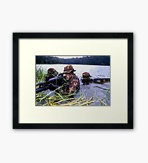 Seal team in the water with a m50 gun Framed Print