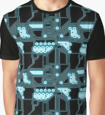 Neon Blue & Black Printed Circuit Board Graphic T-Shirt