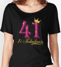 Camiseta ancha para mujer 41.a camisa de la reina fabulosa de las mujeres del cumpleaños