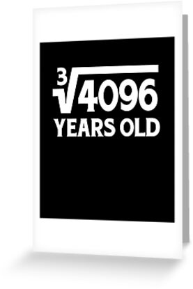 Funny Math Geek 16th Birthday Cube Root 16 Year Old