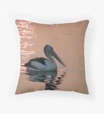 "Pelican ""Bush fire sunset"" Throw Pillow"
