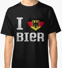 I Love Bier T-Shirt Funny Germany October Fest Drinking Tee Classic T-Shirt