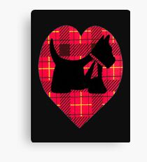 Tartan Scottie Heart Canvas Print
