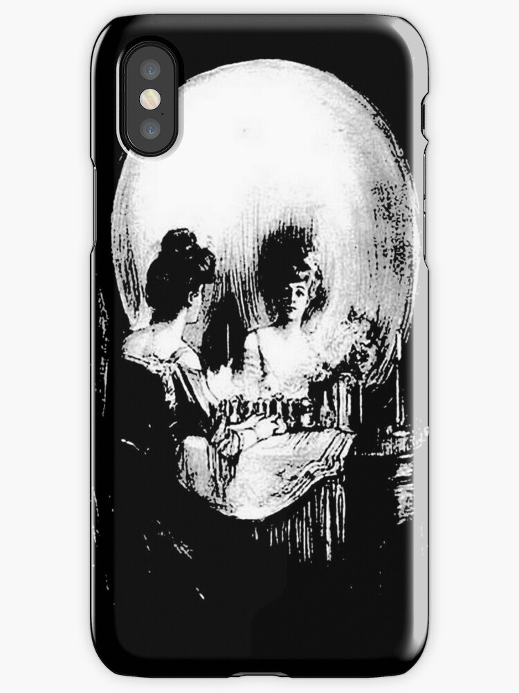 Woman with Halloween Skull Reflection In Mirror by taiche