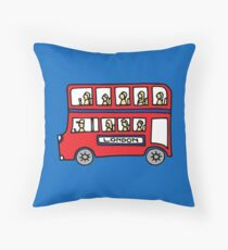 London Bus Doodle Art - Red and Blue Double Decker Throw Pillow