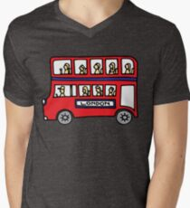 London Bus Doodle Art - Red and Blue Double Decker T-Shirt