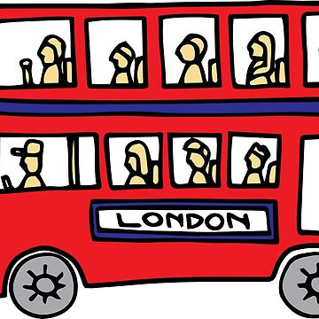 London Bus Doodle Art - Red and Blue Double Decker by DoodleJourney