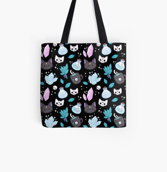 Herb Witch // Black All Over Print Tote Bag
