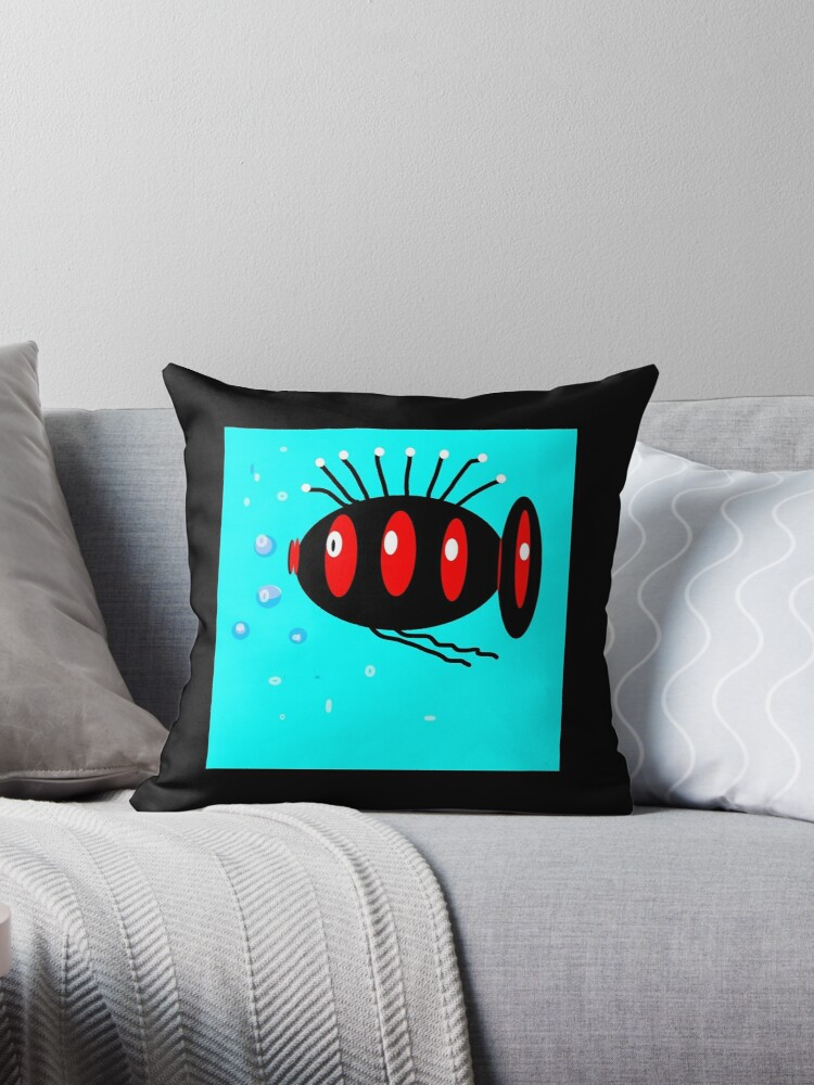 WHIMSY FISH, black and red by ackelly4