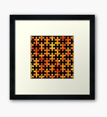 PUZZLE1 BLACK MARBLE & FIRE Framed Print