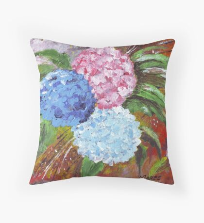 Hydrangeas in Acrylic Throw Pillow