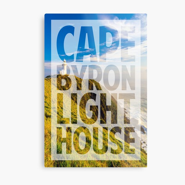 Cape Byron Lighthouse Word-Masked Photo Metal Print