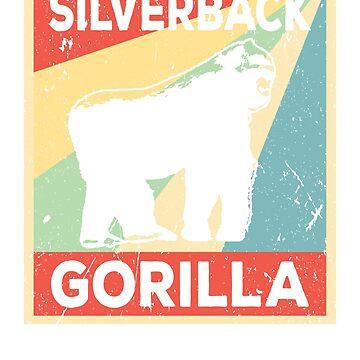 Silverback Gorilla Vintage Retro by prosperousjewel