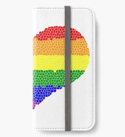 Regenbogen Herz Mosaik iPhone Flip-Case