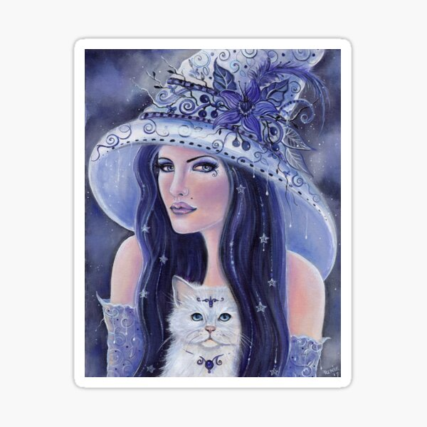 Lilura lavender witch with kitty by Renee L Lavoie Sticker