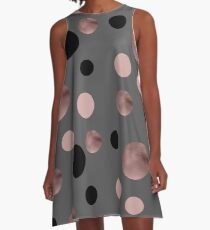 Elegant rose gold, black and pink dots A-Line Dress