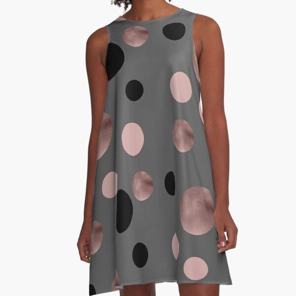 Elegant rose gold, black and pink dots A-Line Dress