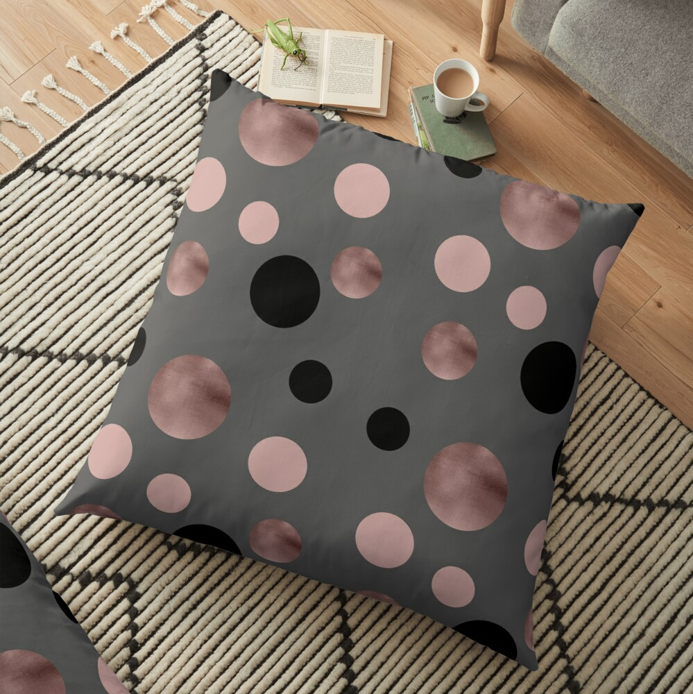 Elegant rose gold, black and pink dots Floor Pillow