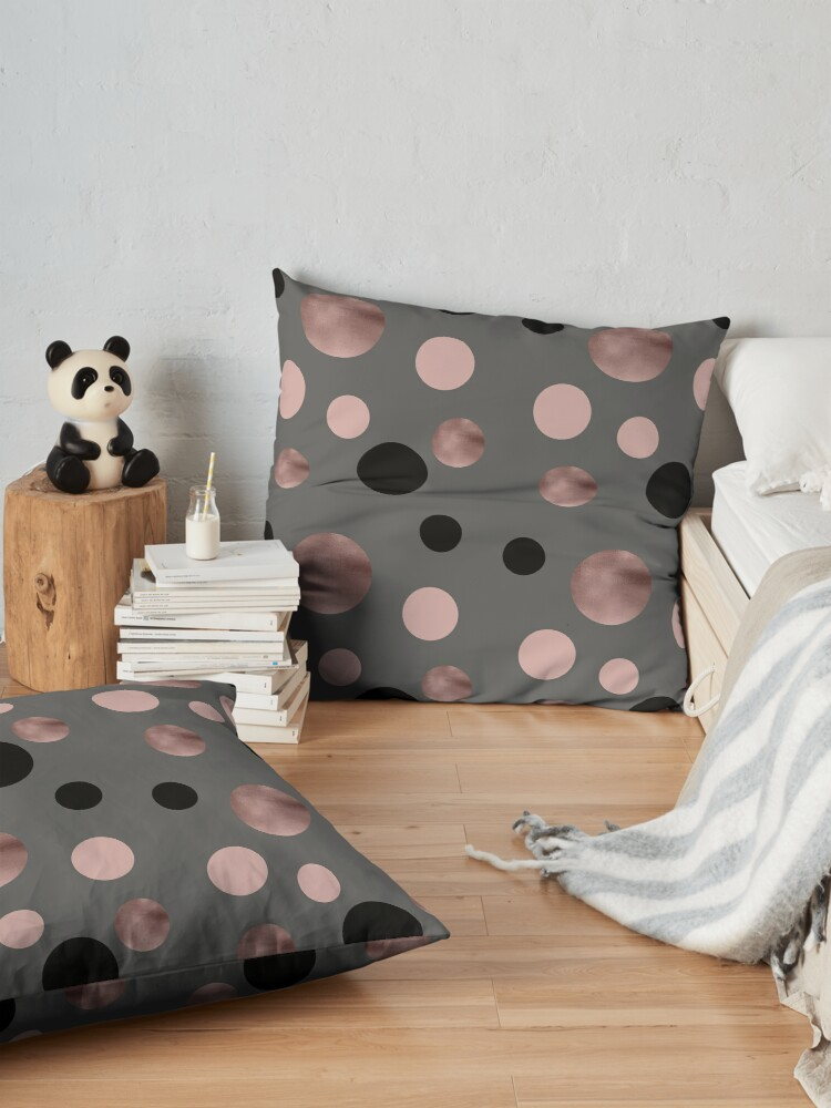 Alternate view of Elegant rose gold, black and pink dots Floor Pillow