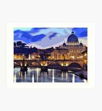 Rome, sunset over the St Peter's Basilica Art Print