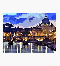 Rome, sunset over the St Peter's Basilica Photographic Print