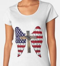 STAND FOR THE FLAG KNEEL FOR THE CROSS Women's Premium T-Shirt