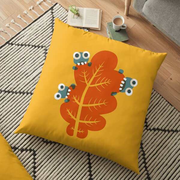 Cute Bugs Eating Autumn Leaves Floor Pillow