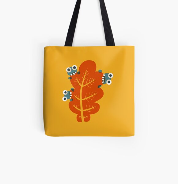 Cute Bugs Eating Autumn Leaves All Over Print Tote Bag