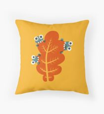 Cute Bugs Eating Autumn Leaves Throw Pillow