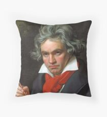 Ludwig van Beethoven, German composer and pianist. Portrait, on Black Throw Pillow