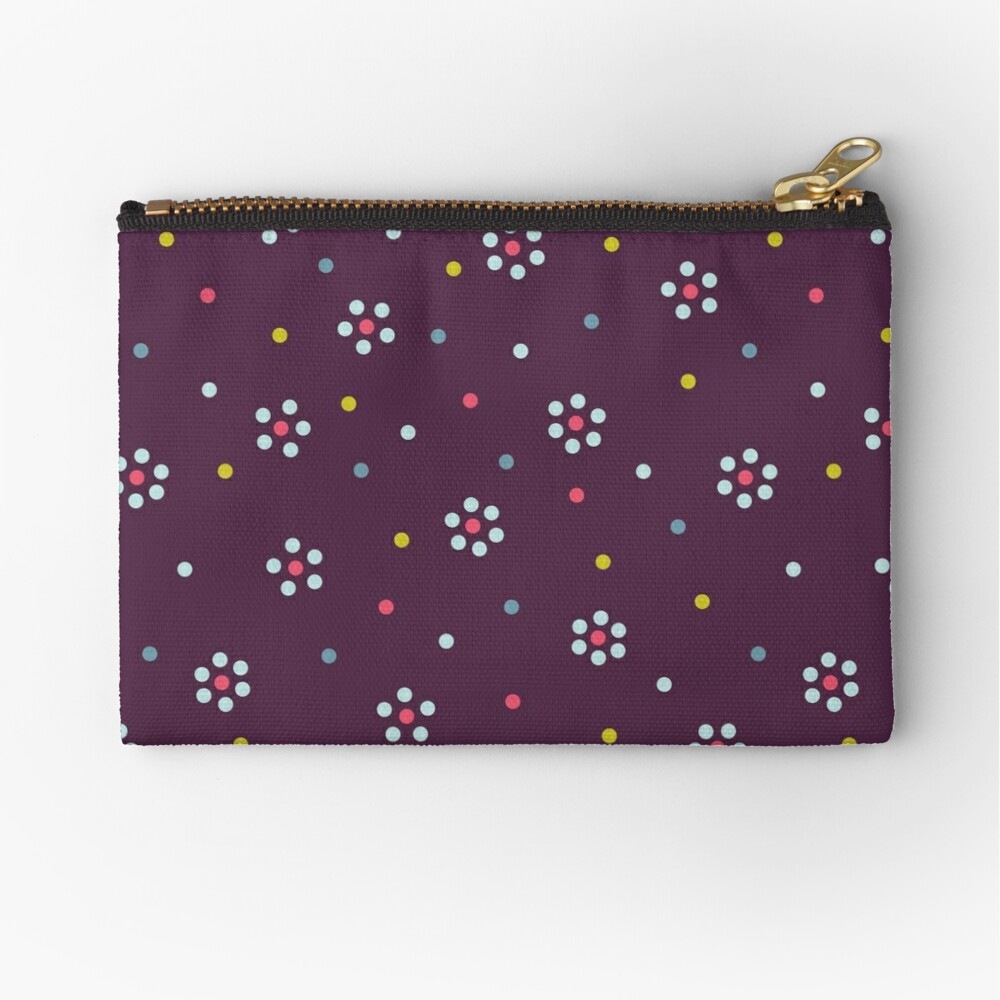 Floral Pattern In Purple And Dots Zipper Pouch