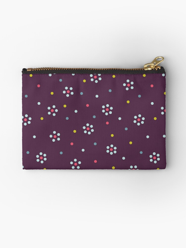 Floral Pattern In Purple And Dots by Boriana Giormova