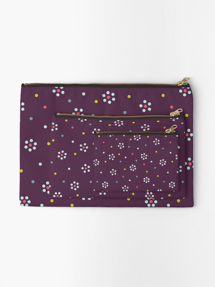 Alternate view of Floral Pattern In Purple And Dots Zipper Pouch